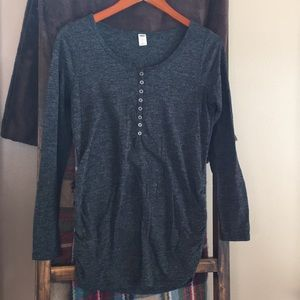 Heathered charcoal maternity Henley Old Navy